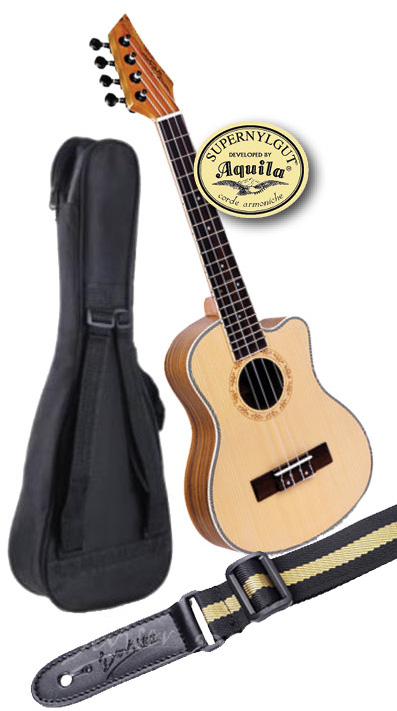 Black Belt Teacher's Tenor Cut-a-way Ukulele, Bag & Strap