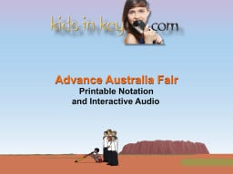 Advance Australia Fair Printable Notation and 