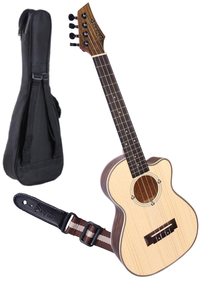 Ukaloha Cut-a-away Tenor Ukulele, Bag & Strap